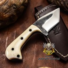 ALONZO KNIVES USA CUSTOM HANDMADE TACTICAL TANTO 1095 KNIFE CAMEL BONE 3232 #AlonzoKnives