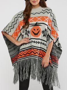 Fringed Hallowmas Jacquard Cape Sweater in Gray   Sammydress.com
