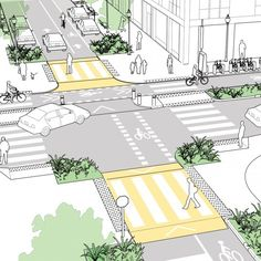 Gallery of 5 safer intersection proposals for different modes of transport . Galeria de 5 propostas de cruzamentos mais seguros para diferentes modais de tra… Gallery of 5 safer crossing proposals for Villa Architecture, Architecture Diagrams, Architecture Portfolio, Urban Design Diagram, Urban Design Plan, Landscape And Urbanism, Landscape Design, Design D'espace Public, Architectural Presentation