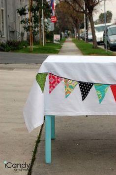 Wimpelkette auf Tischdecke nähen, einfacher Trick
