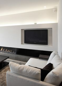 ♂ Minimalist black and white interior living room space with modern fireplace Stylish_Apartment_in_Duinbergen Fireplace Tv Wall, Modern Fireplace, Interior And Exterior, Modern Interior, Interior Design, Tv Wand, Piece A Vivre, Home And Living, Living Room