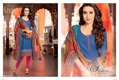 Karishma Bollywood Cotton blue and multicolour unStitched Salwar Suit dupatta