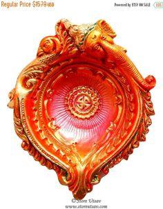 25% OFF SALE Diya Terracotta Ganesha Big Candle Holder Tea Light Holder Pot Pourri Decorative Bowls Home Decor Indian Handicraft from India