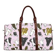 Smooth fox Terrier Plaid pink Waterproof Travel Bag/Large (Model 1639)