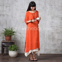 Women's Casual Micro-elastic ½ Length Sleeve Maxi Dress (Linen) (More Colors) - USD $23.99