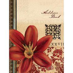 Vintage Floral Ringbound Address Book by Lang Red Flower  Vintage Floral Ringbou #Lang