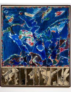 Pierre Alechinsky : Le partage des eaux, 1990-1991. Acrylique sur papier de TaÏwan marouflé sur toile avec prédell, 286 cm x 269. Archives Fondation Maeght, Saint- Paul de Vence. ADAGP, Paris 2014.