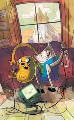 "Adventure Time (Cover D) by Mike ""Gabe"" Krahulik of Penny Arcade Cartoon Gifs, Animated Cartoons, Cartoon Shows, Cartoon Art, Cartoon Ideas, Adventure Time Cartoon, Adventure Time Anime, Ice King Adventure Time, Adventure Time Wallpaper"