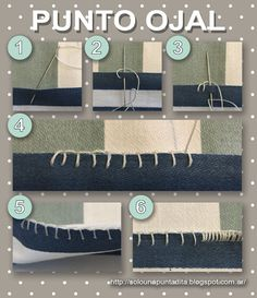Just one stitch .: We start sewing: Buttonhole Point. Step by step tutorial . Sewing Basics, Sewing Hacks, Sewing Tutorials, Sewing Projects, Embroidery Patterns, Hand Embroidery, Pattern Drafting, Hacks Diy, Fashion Sewing
