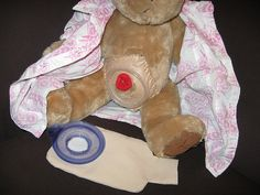 colostomy bag bear even has a stoma. sweet. I'm glad they have these for education thats perfect