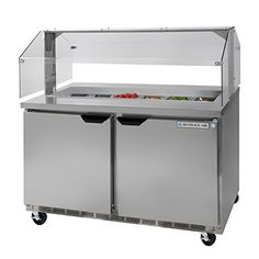 Beverage Air SPE48-12-SNZ Refrigerated Sandwhich Top Counter with Sneezeguard