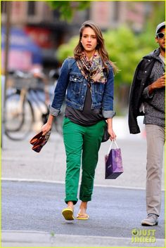 OK, I'm not pregnant, but I like the green jeans with the gray shirt and denim jacket. Jessica Alba
