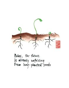 Zen affirmation - set of 6 greeting cards of seedlings - haiku and sumi ink painting.