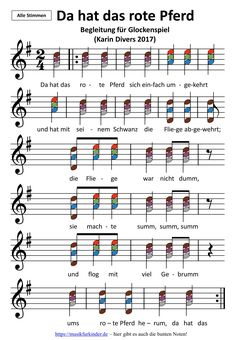 """Begleitung zum Lied """"Da hat das rote Pferd sich einfach umgekehrt"""", mit bunten Noten dreistimmig für Glockenspiel. Geeignet für Kinder von 5-10 Jahren (Grundschule)."""