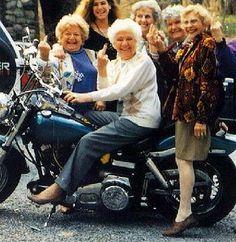| Old female bikers giving the finger--go gramma