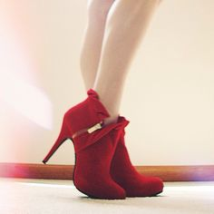 Maria K. stomps sublimely in the You Haute to Know  Heel in Scarlet!
