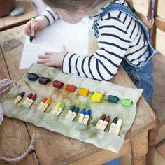 Felt Crayon Roll - Flowers Crayon Holder - Bella Luna Toys