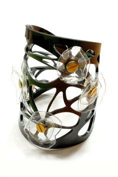 Black Mesh Acrylic Cuff, Plastic Bottle Flower Bracelet, Modern, Unique Style, Contemporary Design.