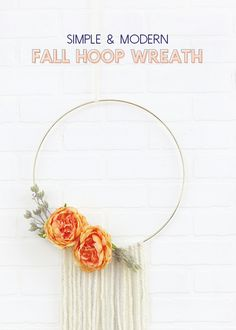 DIY Modern Fall Wreath - Quick and Easy Fall Hoop Wreath - Persia Lou Diy Projects To Sell, Crafts To Sell, Diy Crafts, Craft Projects, Yarn Crafts, Easy Fall Wreaths, Floral Hoops, Fall Crafts For Kids, Do It Yourself Home
