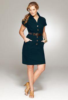 Plus Size Solid Cotton Shirt Dress   Plus Size View All Dresses   Avenue