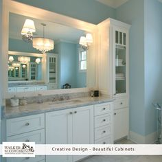 TGIF - Relax and enjoy your weekend!  We just can't get enough of this project! Love this bathroom. #walkerwoodworking #beautifulcabinets #shelbync #charlotte #asheville #designinspiration  #Greenbrookdesign
