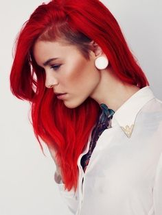 Red #hair #bright #dyed #coloured #unnatural