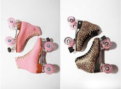 pink and leopard roller skates..she wuld def luv the leopard skates!