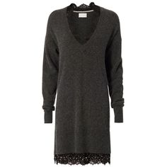 Brochu Walker Women's Looker Dress (28.970 RUB) via Polyvore featuring dresses, grey, brochu walker, grey wool dress, v neck sweater dress, wool dress и gray dress