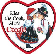 """This charming heart shaped ceramic tile magnet features the saying: """"Kiss the cook she's Czech!"""" - Approximate Dimensions (Length x Width x Height): 3x3.25x0.25"""" - Material Type: Ceramic"""