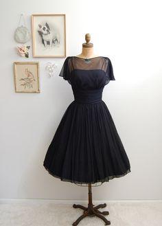 Vintage 1950s Black Cocktail Dress - 50s Full Skirt Dress - The Emmanuelle. $224.00, via Etsy.