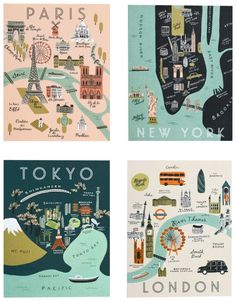 Rifle Paper Asst. City Map Set | Free Shipping