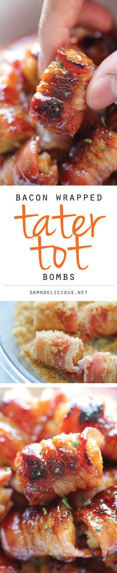 Bacon Wrapped Tater Tot Bombs - The most amazing tater tots ever. It's so good, you'll want to double or triple the recipe! - (how delicious are these!) OOOAAAHHH - WITH BACON! Yummy Appetizers, Appetizers For Party, Appetizer Recipes, Appetizer Ideas, Tailgate Appetizers, Recipes Dinner, Dessert Recipes, Bacon Recipes, Cooking Recipes