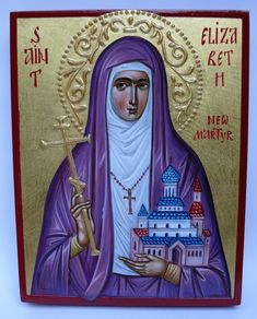 Icon of St. Elizabeth the New Martyr, hand painted orthodox icon, The Holy New Martyr Grand Duchess Elizabeth Religious Icons, Religious Art, Paint Icon, Byzantine Icons, Orthodox Icons, Patron Saints, Sacred Art, Christian Art, Black Panther