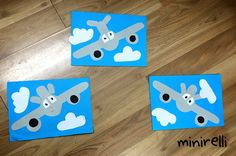 It's unusual to see a plane from the front but we think these are just so cute! You may need: Blue construction paper White a4 paper Grey a4 paper Black a4 paper Eye stickers Glue sticks Firs…