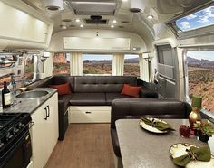 The interior décor for the Airstream International Serenity travel trailer is available in several Ultraleather colors. See your options at Airstream.com.