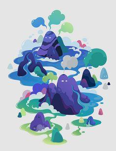 various works 2012 by zutto, via Behance Illustration Design Graphique, Art Et Illustration, Art Graphique, Landscape Illustration, Posca Art, Isometric Design, Cartoon Background, Animation, Art Design