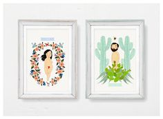 LOVERS Set of 2 art prints CUSTOMIZABLE Him/Her by AtelierGilet, $43.00