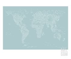 World Map of Cities Stretched Canvas Print by Michael Tompsett at Art.com