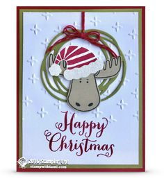 CARD: Jolly Friends Moose Ornament Christmas Card | Stampin Up Demonstrator - Tami White - Stamp With Tami Crafting and Card-Making Stampin Up blog