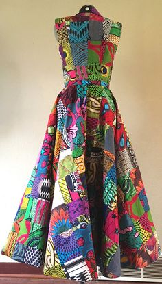 Make a Scene Reversible African Wax Print Coat Dress Double