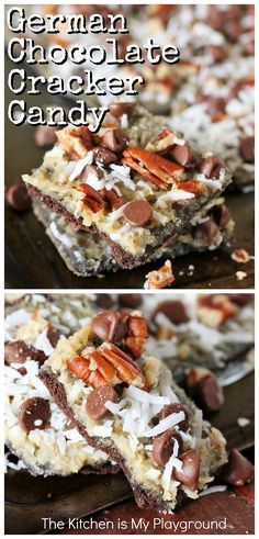 German Chocolate Cracker Candy ~ Enjoy all the classic flavors of German chocolate cake, in an easy-to-make chocolate graham cracker based candy. Loaded with chocolate chips, coconut, pecans, & cracker candy's signature boiled butter-brown sugar mixture, it's one super tasty sweet treat, for sure. #crackercandy #Germanchocolate #Germanchocolatecrackercandy www.thekitchenismyplayground.com