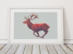 Vintage printable wall art of a deer, digital art print with instant download, modern printable art, modern nature art, nature photography