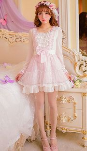 Pink Cherry bow lace long-sleeved princess dress