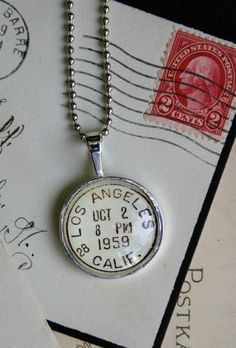 Los Angeles Vintage Postmark Necklace Silver Necklace by CrowBiz Resin Jewelry, Jewelry Crafts, Jewelry Art, Beaded Jewelry, Vintage Jewelry, Jewelry Accessories, Jewelry Necklaces, Handmade Jewelry, Jewelry Design