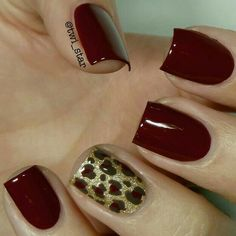 OPI Skyfall, LAMB, and How Great is Your Dane? – Leopard spot mani I love this warm maroon mani with the gold, leopard accent. Fancy Nails, Love Nails, How To Do Nails, Pretty Nails, Leopard Print Nails, Leopard Prints, Red Cheetah Nails, Ten Nails, Maroon Nails