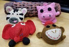 Cool Tape Measures, Zebra, pink pig, red elephant and brown monkey, There are easy to find in your tool bag and they are fair trade!