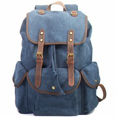 Cheap Retro Leather Strap Rucksack Thick Canvas Large Travel College Backpack For Big Sale!Retro Leather Strap Rucksack Thick Canvas Large Travel College Backpack is a nice bag. Fashion Bags, Fashion Backpack, Travel Backpack, Laptop Backpack, Bucket Backpack, Girl Backpacks, College Backpacks, Canvas Backpacks, Leather Backpacks