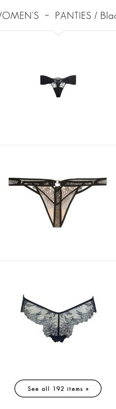 """""""WOMEN'S  ~  PANTIES / Black"""" by kuropirate on Polyvore featuring intimates, lacy lingerie, la perla, sexy lingerie, la perla lingerie, sexy lace lingerie, panties, shiny thong, red thong and victoria secret thongs"""