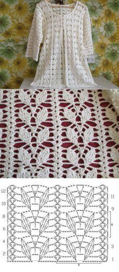 Patron punto Crochet Imagen Punto de hojas a häkeln muy fácil y rápido para b . Patron punto Crochet Imagen Punto de hojas a häkeln muy fácil y rápido para b . Crochet Bolero Pattern, Gilet Crochet, Crochet Diy, Crochet Diagram, Crochet Stitches Patterns, Crochet Chart, Crochet Cardigan, Crochet Motif, Knitting Patterns