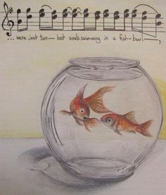 """inspiration: i chose this image because it references a great song by Pink Floyd. i like how the lyrics of the song are translated on to the image. the artist uses fish in the bowl to represent a line from the song """"wish you were here. Pink Floyd Lyrics, Pink Floyd Music, Music Love, Music Is Life, Music Music, Rock Music, Beatles, Wish You Are Here, Illustrations"""